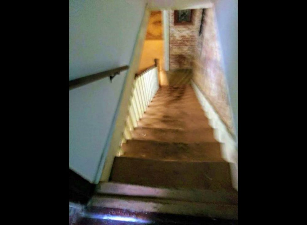 The suspect photograph of a shadow person at the foot of Octagon Hall's stairs